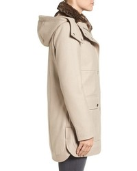 Kenneth Cole New York Wool Blend Parka With Faux Fur Lined Collar