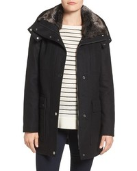 Wool blend parka with faux fur lined collar medium 1158093