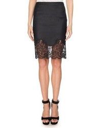 Givenchy Lace Hem Wool Pencil Skirt Black