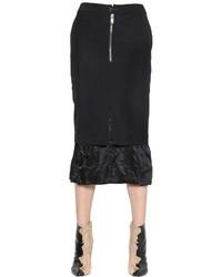 Maison Margiela Layered Wool Blend Satin Pencil Skirt
