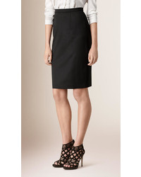 Burberry Stretch Virgin Wool Tailored Pencil Skirt