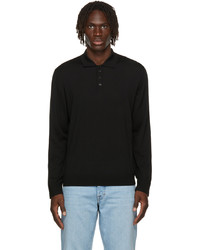 Z Zegna Black Wool Long Sleeve Polo