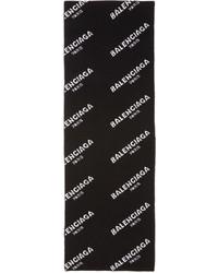 Balenciaga Black All Over Logo Scarf