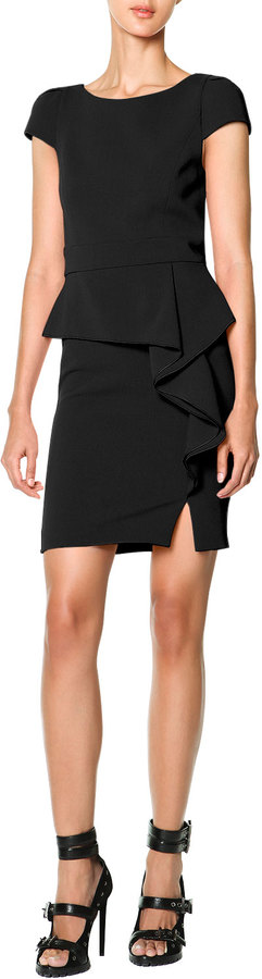 Emilio Pucci Black Side Ruffle Dress Cap Sleeve Side Cascade Ruffle
