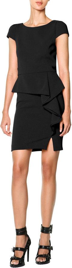 Emilio Pucci Black Side Ruffle Dress Cap Sleeve Side Cascade Ruffle