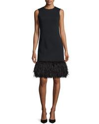 Michael Kors Michl Kors Ostrich Hem Sleeveless Shift Dress Black