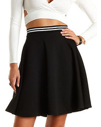 Textured knit skater skirt with striped waistband medium 147853