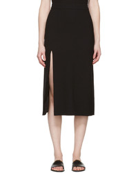 Lanvin Black Wool Slit Skirt