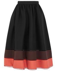 Fendi Color Block Wool And Silk Blend Gazar Midi Skirt Black