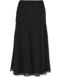 Alexander McQueen Metallic Boucl Tweed Midi Skirt Black
