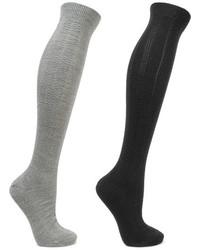 Falke Armour Set Of Two Textured Wool Blend Socks Black