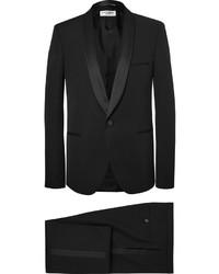 Saint Laurent Black Slim Fit Satin Trimmed Wool Tuxedo