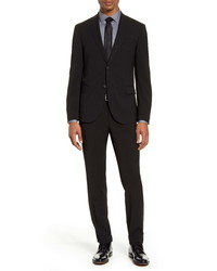 Hugo Boss Neight Narrow Fit Black Stretch Wool Blend Travel Suit