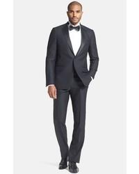 New york classic fit black wool tuxedo medium 592897
