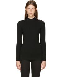 Versace Black Rib Mock Neck Sweater