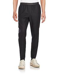 Vince Leather Trim Wool Blend Jogger Pants