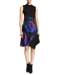 DKNY Sleeveless Mixed Media Swing Dress Black