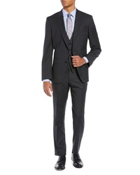 BOSS Helward Fit Solid Three Piece Wool Suit