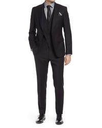 BOSS Helwardgenius Slim Fit Three Piece Solid Wool Suit