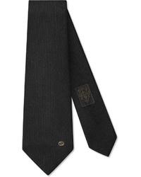 Gucci Wool Silk Tie With Interlocking G