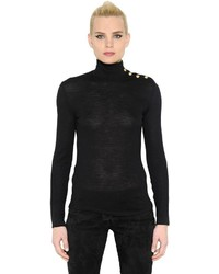 Balmain Gold Buttons Turtleneck Wool Sweater