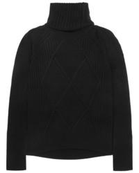 Kenzo Convertible Wool Turtleneck Sweater Black