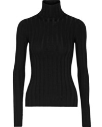 Acne Studios Corin Ribbed Merino Wool Blend Turtleneck Sweater Black