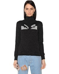 Fendi Monster Lurex Wool Turtleneck Sweater
