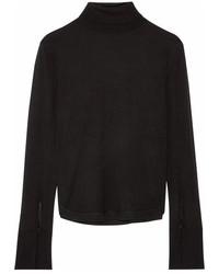 Chloé Wool Silk And Cashmere Blend Turtleneck Sweater Black