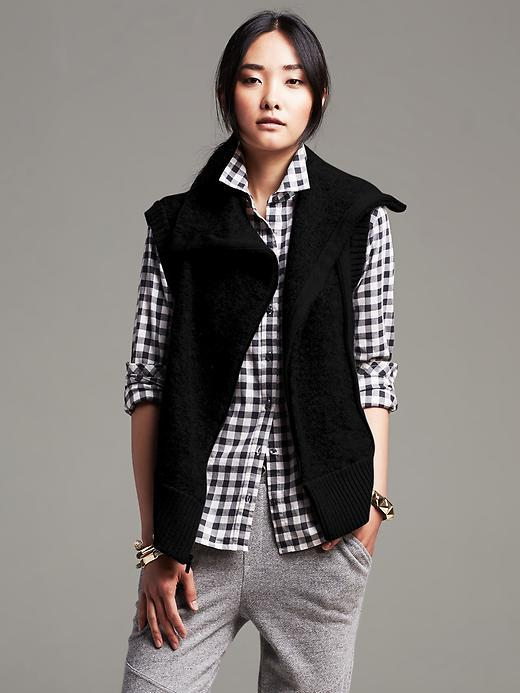 Banana Republic Boucle Zip Sweater Vest | Where to buy & how to wear