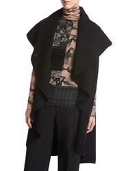 Funnel neck long cascading wool vest black medium 3746026