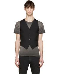 Saint Laurent Black Wool Silk Classic Waistcoat