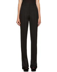 Saint Laurent Black Satin Trim Trousers