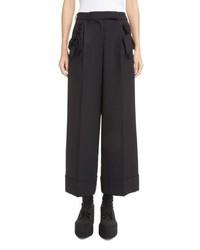 Simone Rocha Bow Pocket Wide Leg Stretch Wool Pants