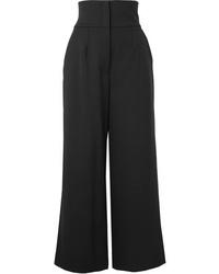 Dolce & Gabbana Cropped De Poudre Wool Blend Wide Leg Pants