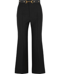 Gucci Horsebit Detailed Wool And Silk Blend Crepe Wide Leg Pants Black