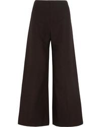 Isabel Marant Spanel Cotton And Linen Blend Wide Leg Pants Black