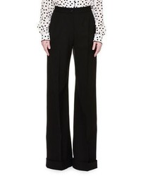 Dolce & Gabbana Wide Leg Folded Cuff Pants Black