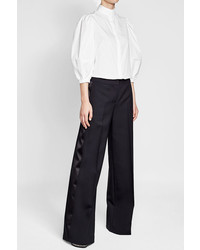 Alexander McQueen Wide Leg Pants With Wool And Silk