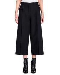 Fendi Wool Silk Gazar Pintuck Wide Leg Trousers