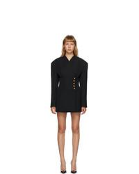 Balmain Black De Poudre Wrap Jacket Dress