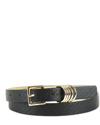 Neiman Marcus Four Ring Woven Embossed Skinny Belt Black