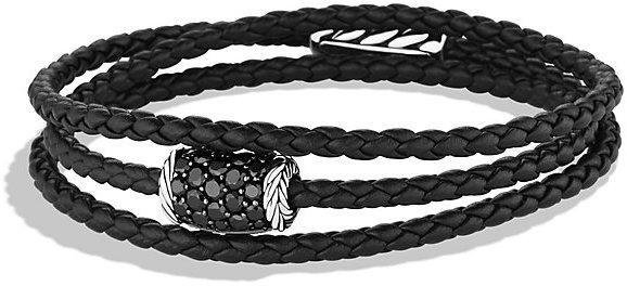 David Yurman Chevron Triple Wrap Bracelet With Black Diamonds