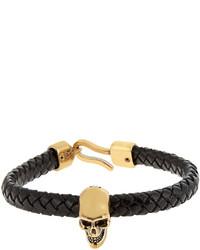 Alexander McQueen Skull And Woven Leather Bracelet