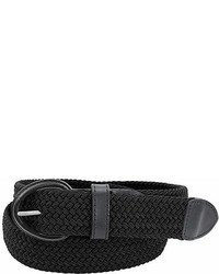 Florsheim Black Braided Leather Stretch Belt