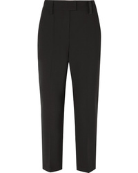 Brunello Cucinelli Cropped Bead Embellished Cady Straight Leg Pants