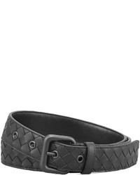 Black Woven Leather Belt