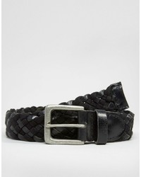 Asos Brand Leather And Woven Plaited Belt