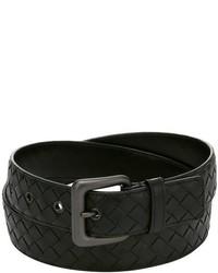 Bottega Veneta Black Intrecciato Leather Belt