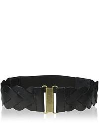 Elise M Skylar Leather Braided Belt With Elastic Back